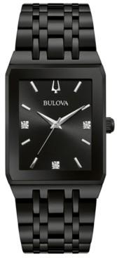 Bulova Men's Futuro Diamond-Accent Black Stainless Steel Bracelet Watch 45x30mm