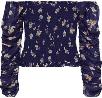 Caroline Constas Gemma Off-the-shoulder Shirred Floral-print Silk-chiffon Top
