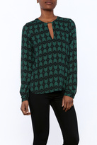 Olivaceous Green Geo Blouse