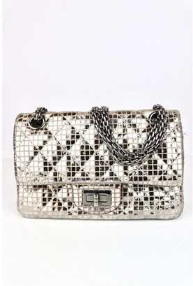 Chanel 2.55 Silver Leather Handbags