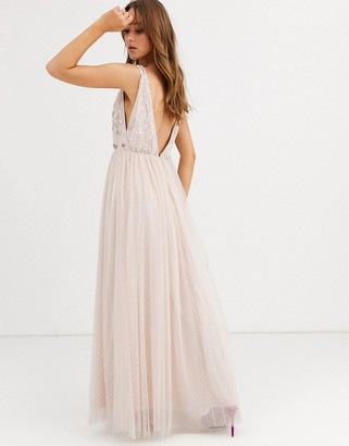 Needle & Thread embellished plunge tulle skirt maxi dress in blush-Pink
