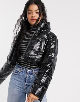 ASOS DESIGN crop puffer jacket with croc texture in black