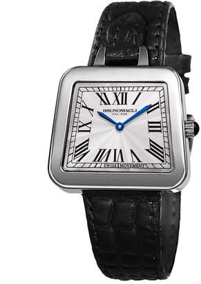 Bruno Magli 34mm Emma Trapezoid Watch w/ Black Strap