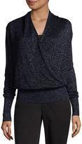 Liz Claiborne Long Sleeve Lurex Surplice Sweater