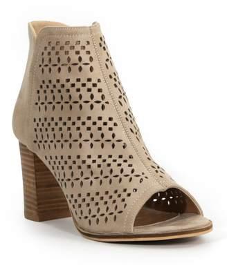 Catherine Malandrino Aringo Perforated Block Heel Peep Toe Bootie