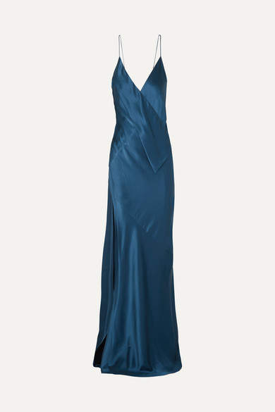 Michael Lo Sordo Draped Silk-satin Gown - Navy
