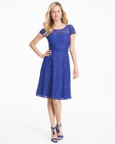 White House Black Market Cap-Sleeve Lace Fit-and-Flare Dress