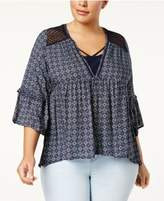 Eyeshadow Trendy Plus Size Crocheted-Trim Top