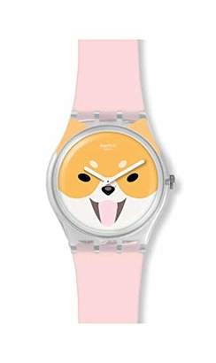 Swatch Womens Analogue Swiss Quartz Watch with Silicone Strap GE279