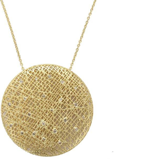 Yossi Harari Large Round Lace Pendant Necklace