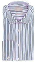 Savoy Taylors Guild Mens Regular Fit Pink & Blue Double Cuff Narrow Stripe Shirt