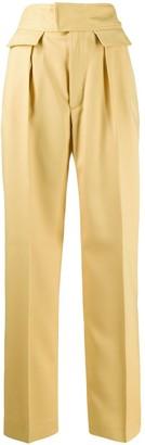 Plan C High-Waisted Straight-Leg Trousers