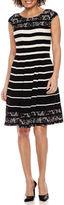 Robbie Bee Short Sleeve Stripe Fit & Flare Dress-Petites
