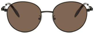 Alexander McQueen Black Oval Metal Piercing Sunglasses