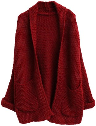 YOUJIA Women's Oversize Lapel Mohair Boyfriend Open Front Warm Knit Cardigan Jumper Outwear with Pockets - Wine Red
