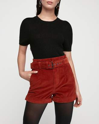 Express High Waisted Belted Corduroy Shorts
