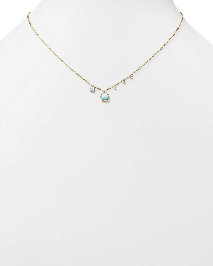 Meira T 14K White and Yellow Gold Larimar Necklace with Diamonds, 19""