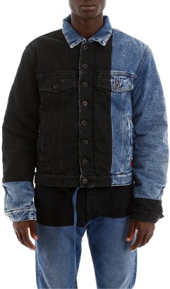 Off-White Contrast Panelled Denim Jacket