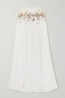 Oscar de la Renta Cape-effect Sequin-embellished Tulle-trimmed Silk-blend Gown - Ivory