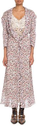 Chloé Long-Sleeve Floral-Print Viscose A-Line Duster Coat