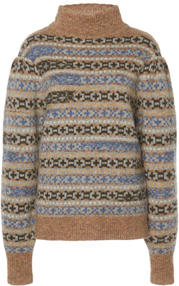 Etoile Isabel Marant Ned Intarsia-Knit Wool Turtleneck Sweater