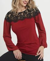 August Silk Red Lace-Yoke Long-Sleeve Top