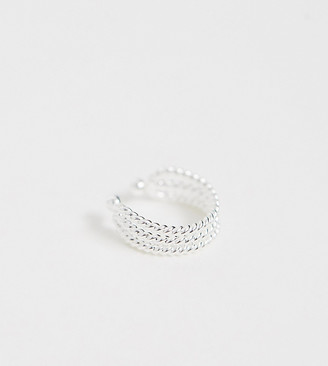 ASOS DESIGN sterling silver ear cuff in triple twist design