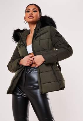 Missguided Premium Khaki Belted Faux Fur Trim Puffer Jacket