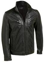 Black Rivet Mens Leather Jacket W/ Chest Pockets & Fully Lined Interior