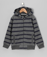 Micros Gray & Black Stripe Sherpa Zip-Up Hoodie - Boys