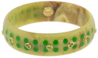 Mark Davis Green Bakelite, 18kt Yellow Gold And Peridot Bangle