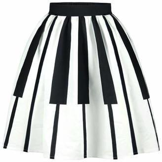Ocean Plus Women's A Line Pleated Skirt Retro High Waist Mini Skater Skirt Knee Length Leisure Red White Dots Swing Skirt (XL (Waist: 31-39 inches)