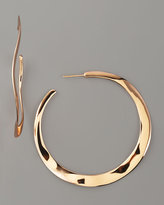 Wavy Rose Gold Hoop Earrings, Large