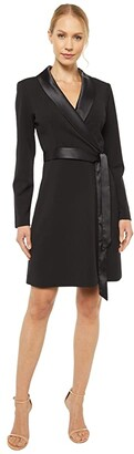 Adrianna Papell Knit Crepe Tuxedo A-Line Dress (Black) Women's Dress