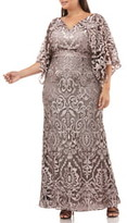 JS Collections Embroidered Lace Evening Dress