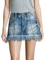 Miss Me Frayed A-Line Denim Skirt