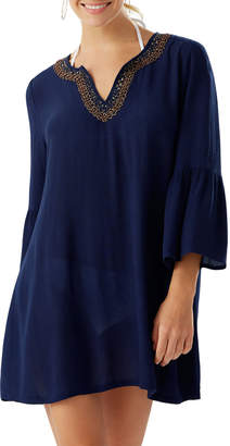 Tommy Bahama Bell-Sleeve Beaded Trim Crinkle Tunic Coverup
