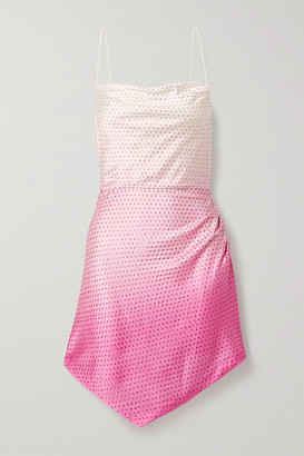retrofete Auris Asymmetric Crystal-embellished Ombre Stretch-silk Satin Mini Dress - Pink