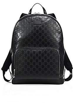 Gucci Men's Signature Embossed Leather Backpack