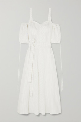 Loewe + Paula's Ibiza Cold-shoulder Striped Linen-blend Gown - White