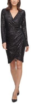 Eliza J Sequin Side-Ruched Sheath Dress