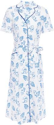 HVN Maria Belted Printed Cotton-blend Shirt Dress