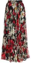 Dolce & Gabbana Pleated Floral-Print Silk-Chiffon Maxi Skirt