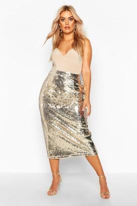 boohoo Plus Sequin Longline Midi Skirt
