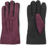 Agnelle Two-tone shearling-lined nubuck gloves