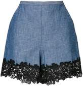See by Chloe lace trim chambray shorts
