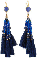 Nakamol Beaded Tassel Drop Earrings, Navy