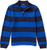 Ralph Lauren Little Boys 2T-7 Horizontal Striped Half-Zip French-Rib Pullover