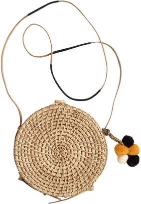 Round Natural Wood Crossbody Bag with Pom Poms
