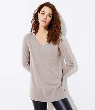 LOFT Luxe Knit V-Neck Tunic Sweater